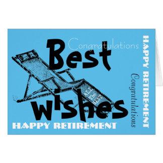 Aposentadoria feliz com o azul retro 2 de cartão comemorativo