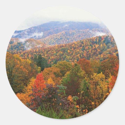 Appalachian luxúria Carolina da paisagem da cena Adesivos Redondos