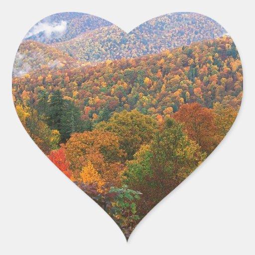 Appalachian luxúria Carolina da paisagem da cena Adesivo Em Forma De Coração