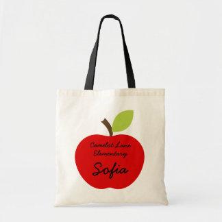 Apple vermelho personalizou o saco de livro de Hom Sacola Tote Budget