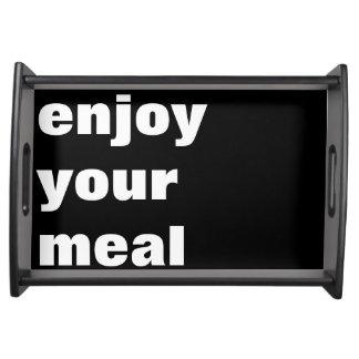 aprecie sua refeição. appetit do bon travessas