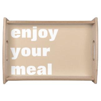 aprecie sua refeição bandeja de servir