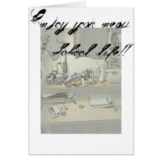 Aprecie sua vida nova da escola! cartão comemorativo