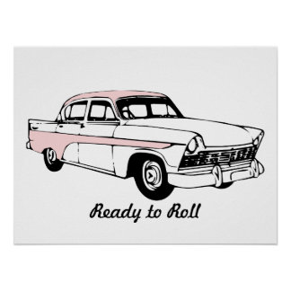 Apronte para rolar o carro vintage poster