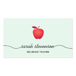 Aqua claro simples do professor vermelho de Apple Cartão De Visita