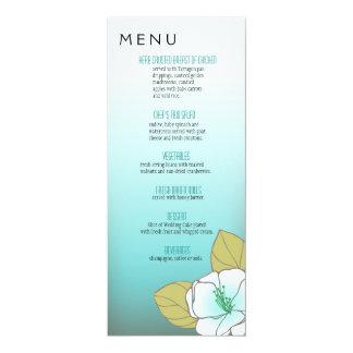 Aqua de florescência do menu do comensal das convites personalizados