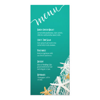 """Aqua do menu   do casamento de praia da rede da convite 10.16"""" x 23.49cm"""
