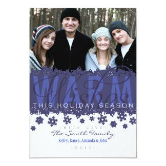 Aqueça o cartão do floco de neve do feriado dos convite 12.7 x 17.78cm