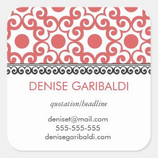 Arabesque moderno elegante endereço personalizado adesivo quadrado