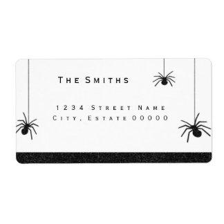 Aranhas e etiqueta de endereço das listras