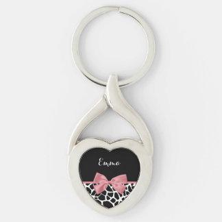 Arco cor-de-rosa rosado do impressão na moda do chaveiro coração torcido cor prata