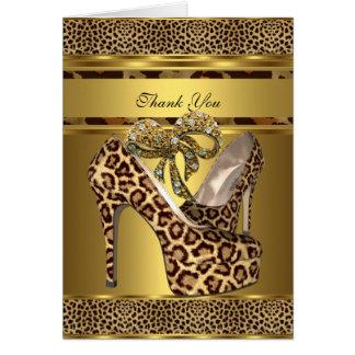 Arco do ouro do leopardo dos calçados do salto dos cartão de nota