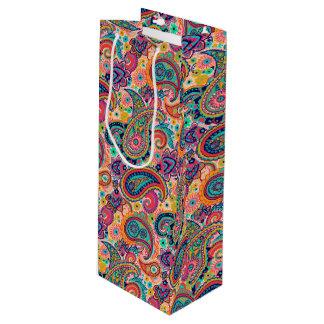 Arco-íris brilhante Paisley Sacola Para Vinho