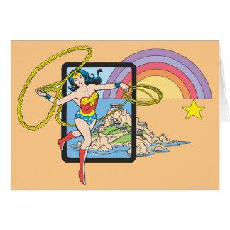 Arco-íris da mulher maravilha cartão comemorativo