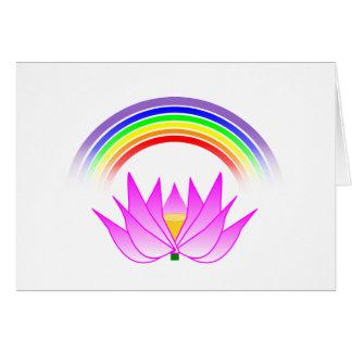 Arco-íris do cartão & flor de Lotus horizontais