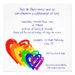 Arco-íris dos corações convite personalizados