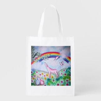 Arco-íris feliz sacolas ecológicas para supermercado