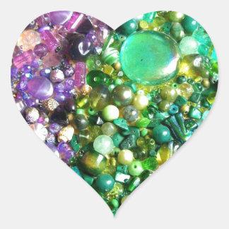 Arco-íris frisado adesivo coração
