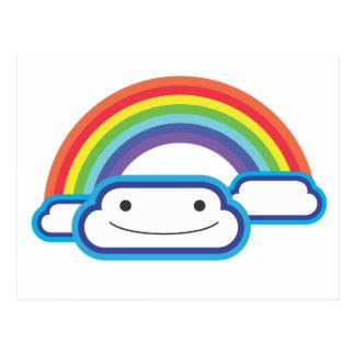 Arco-íris Kawaii Cartão Postal