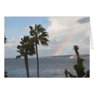 Arco-íris litoral cartão de nota
