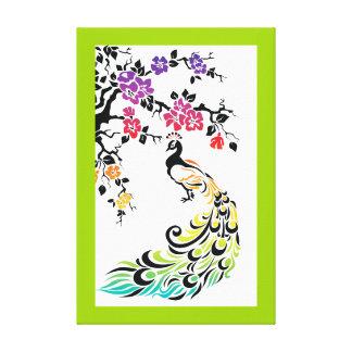 Arco-íris, pavão preto e flores de cerejeira impressão em tela canvas