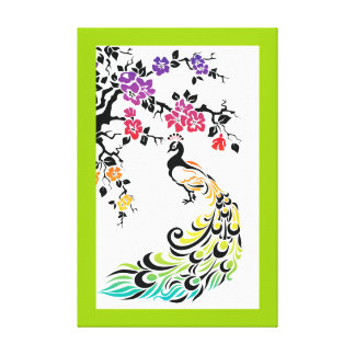 Arco-íris, pavão preto e flores de cerejeira impressão em tela