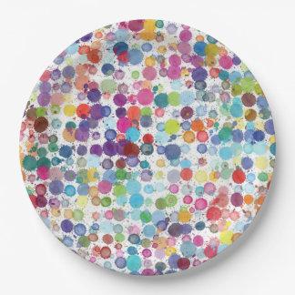 Arco-íris retro da pintura da arte da placa de prato de papel