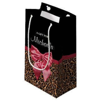 Arco vermelho elegante e nome do impressão à moda sacola para presentes pequena