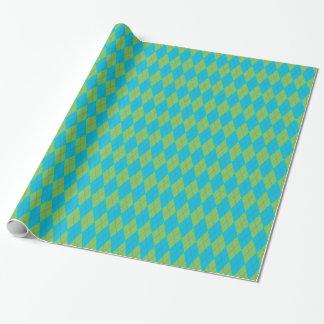 Argyle azul & verde papel de presentes