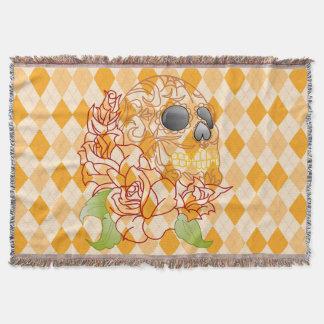 Argyle rockabilly amarelo retro do lance do crânio throw blanket
