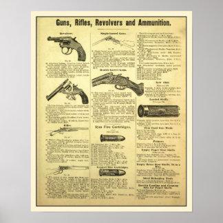 Armas rifles revólveres e munição do anúncio do posters
