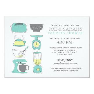 Armazene os casais da cozinha o partido de chá que convite 11.30 x 15.87cm