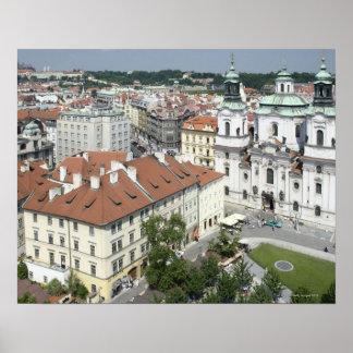 Arquitectura da cidade de Praga histórica, repúbli Poster