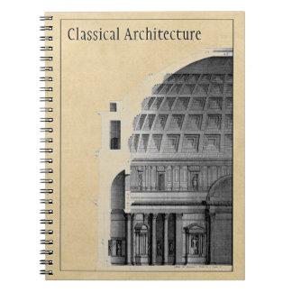 Arquitetura clássica do panteão personalizado cadernos espirais