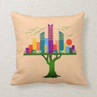 Arquitetura colorida da cidade da árvore almofada