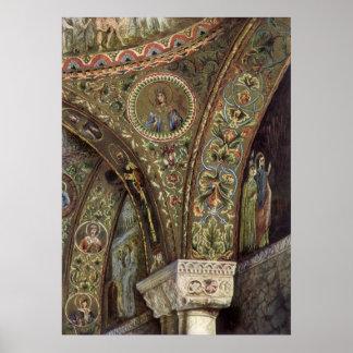 Arquitetura do vintage, arco decorativo em uma poster