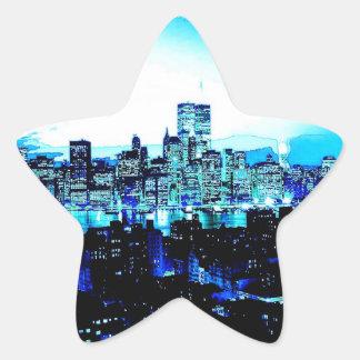Arranha-céus da Nova Iorque na etiqueta da estrela Adesito Estrela