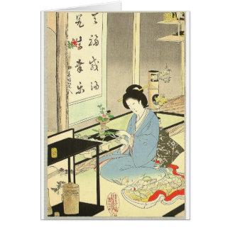 Arranjo da flor e cerimónia de chá por Toyohara Cartão Comemorativo