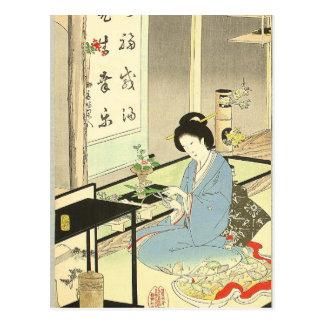 Arranjo da flor e cerimónia de chá por Toyohara Cartão Postal