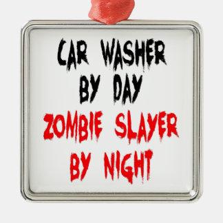 Arruela do carro do assassino do zombi ornamento quadrado cor prata