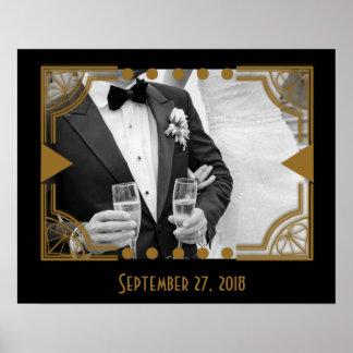 Art deco com seu poster da foto do casamento