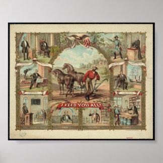 Arte 1776-1876 presidencial do vintage histórico P Pôster