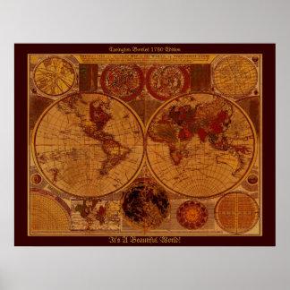 Arte 1780 do mapa de Velho Mundo Posteres