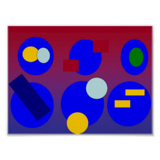 Arte abstracta - alvorecer do vermelho azul poster