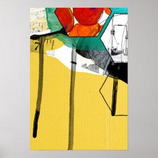 arte abstracta amarela poster