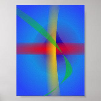 Arte abstracta azul brilhante poster