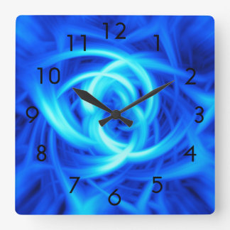 Arte abstracta azul do Vortex Relógio Quadrado