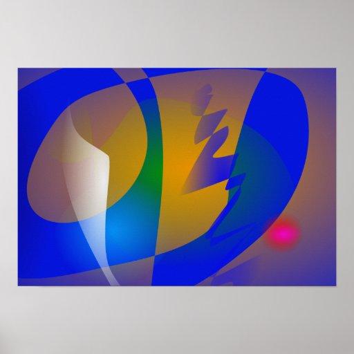 Arte abstracta azul impressionante posteres