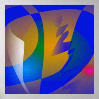 Arte abstracta azul impressionante impressão