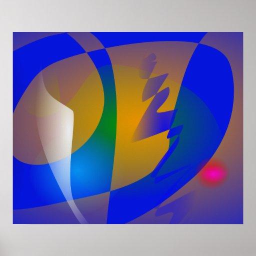 Arte abstracta azul impressionante posters